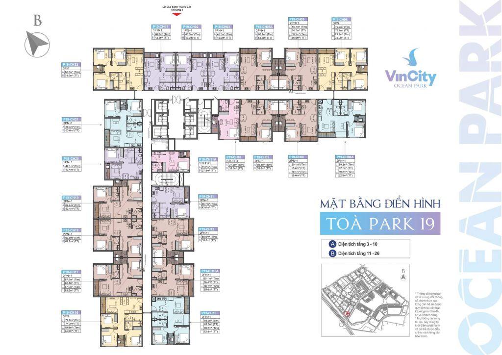 mặt bằng vincity ocean park tòa park 19