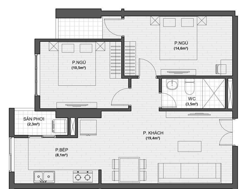 thiết kế căn hộ 2 ngủ