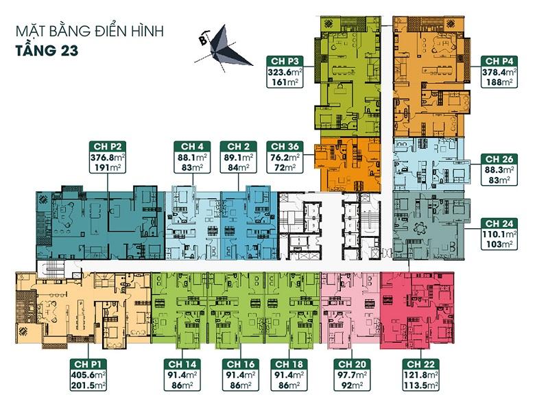 mặt bằng chung cư tsg lotus sài đồng tầng 23