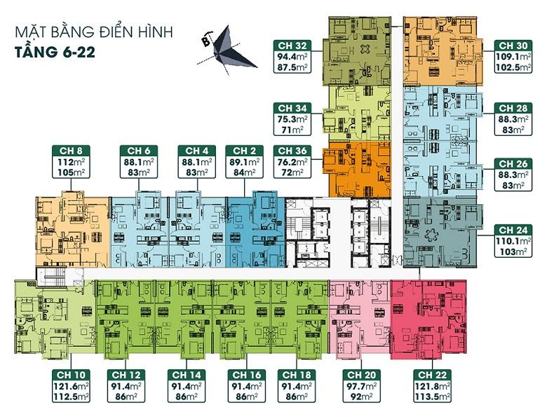 mặt bằng chung cư tsg lotus sài đồng tầng 6 -22