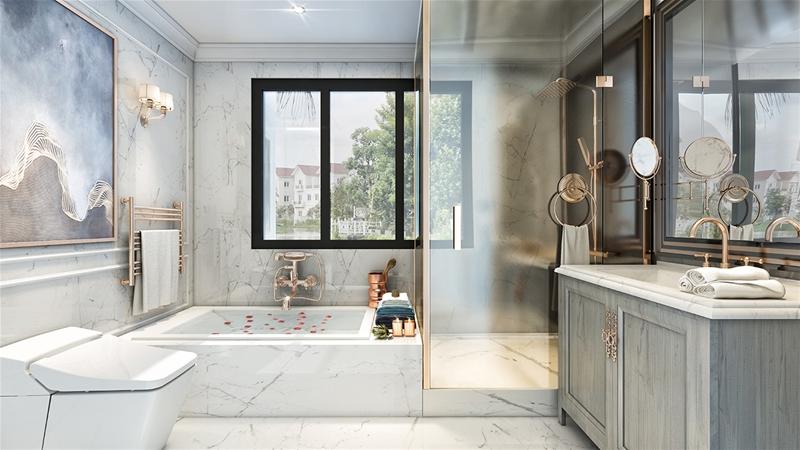 phòng tắm biệt thự hateco 6 xuân phương