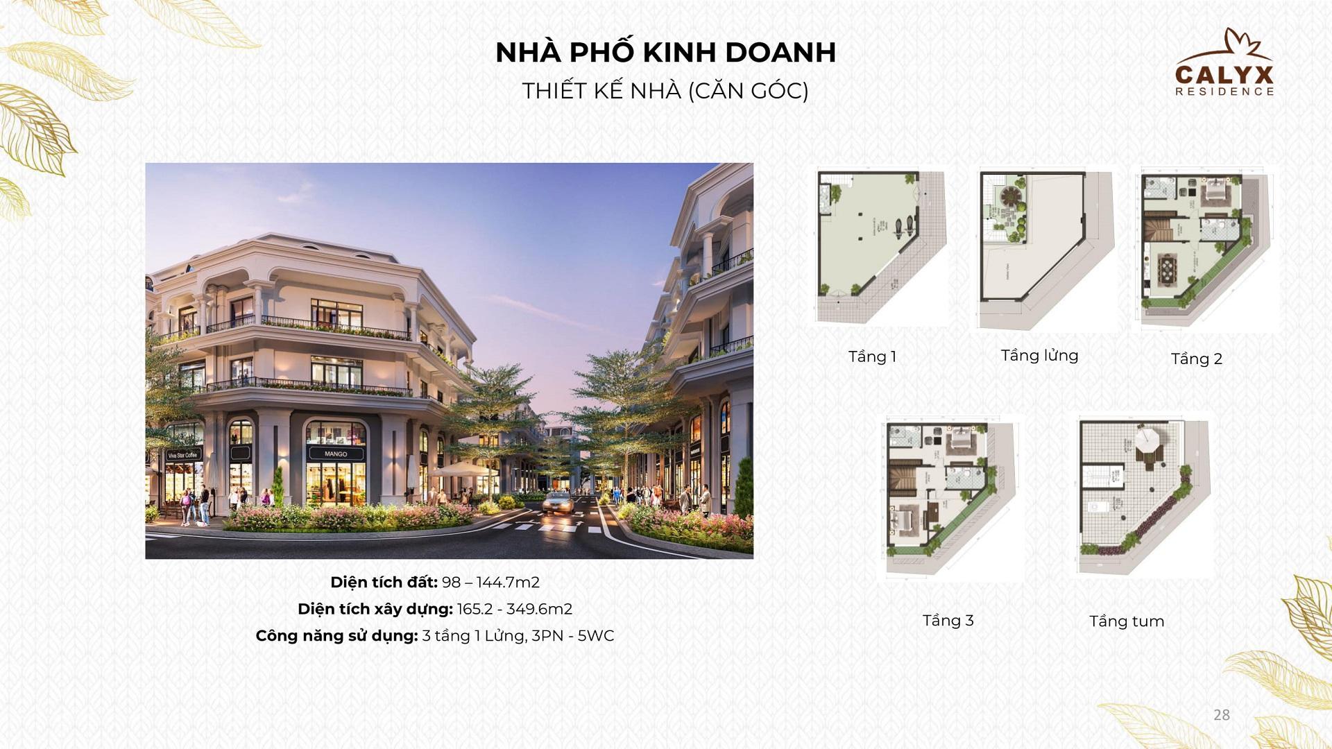 thiết kế shophouse calyx residence lô góc