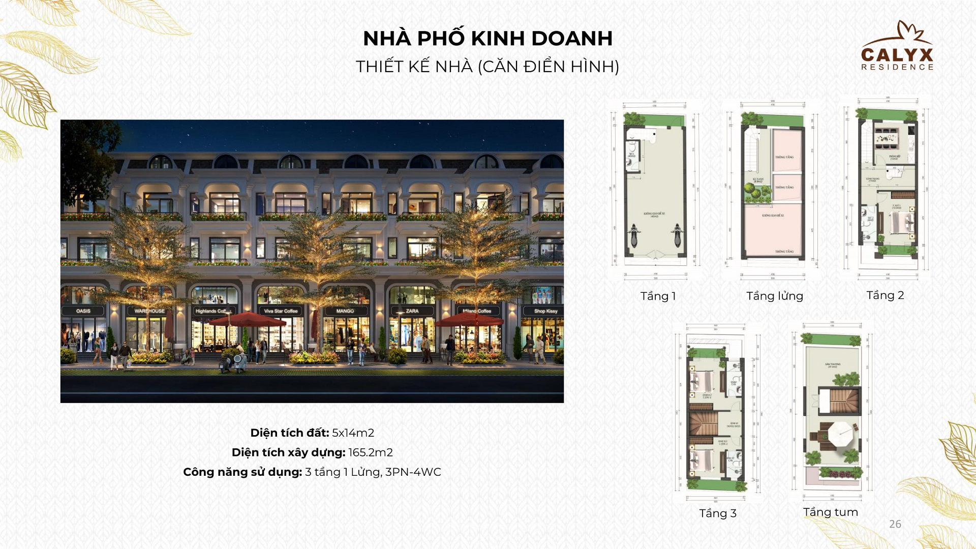 thiết kế shophouse calyx residence
