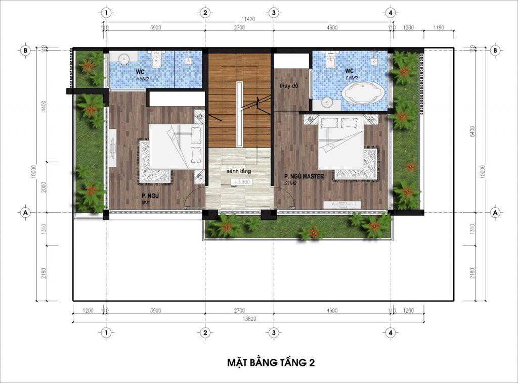 thiết kế biệt thự song lập the legend villas