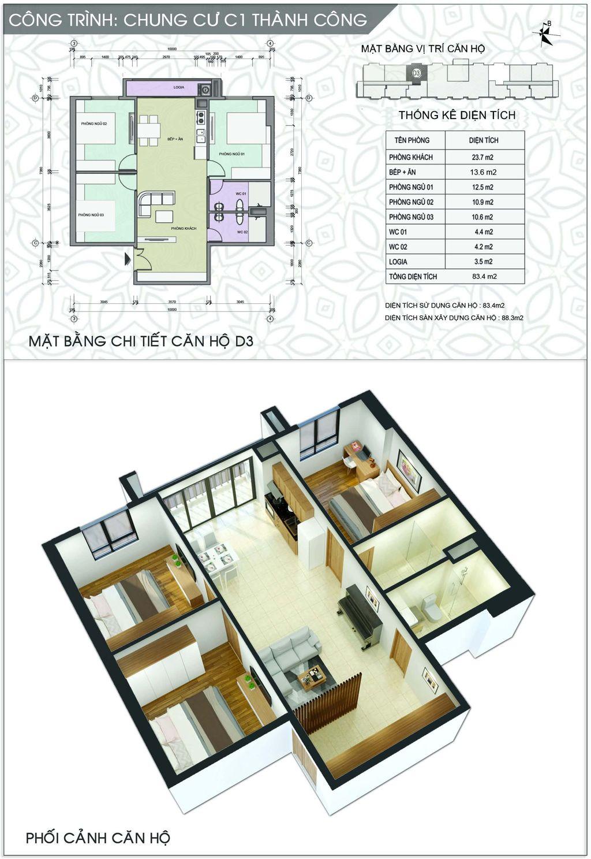 Thiết kế chung cư C1 Thành Công căn số 4 và số 9