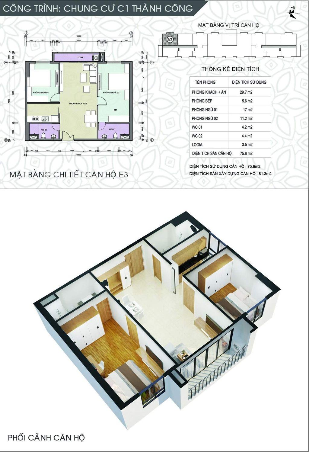 Thiết kế chung cư C1 Thành Công căn số 5 và số 10