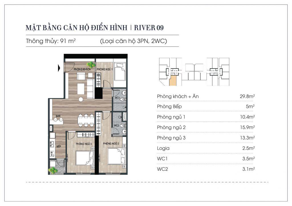 thiết kế căn hộ euro river tower đông trù
