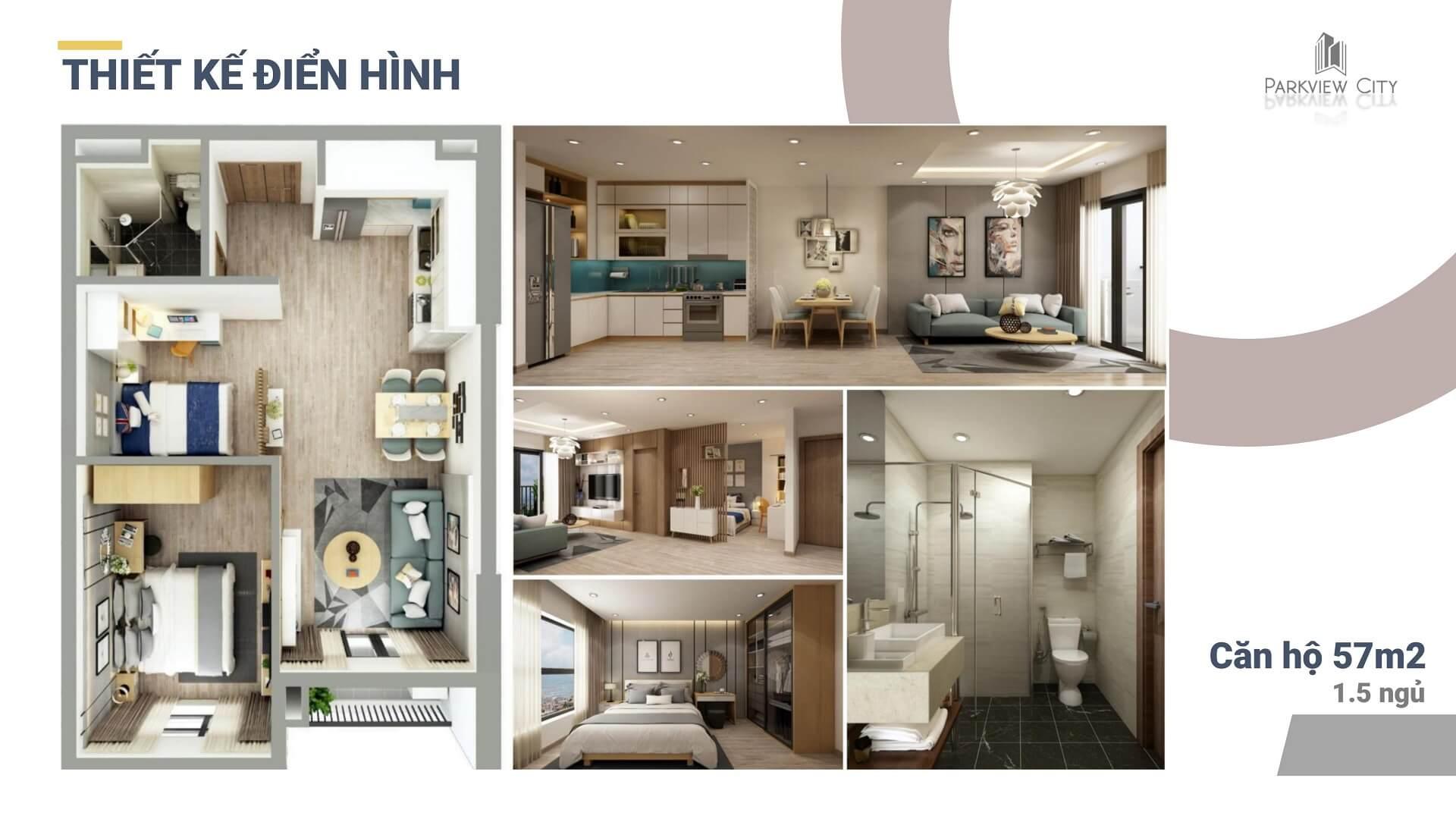 thiết kế chi tiết căn hộ 1,5 ngủ