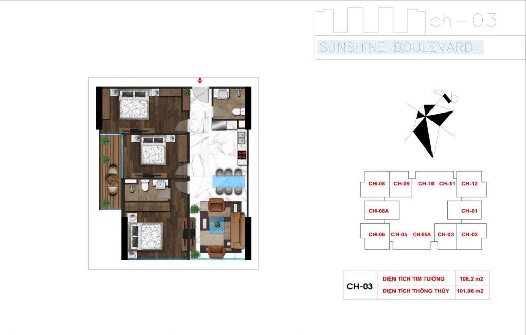 thiết kế căn hộ sunshine boulevard