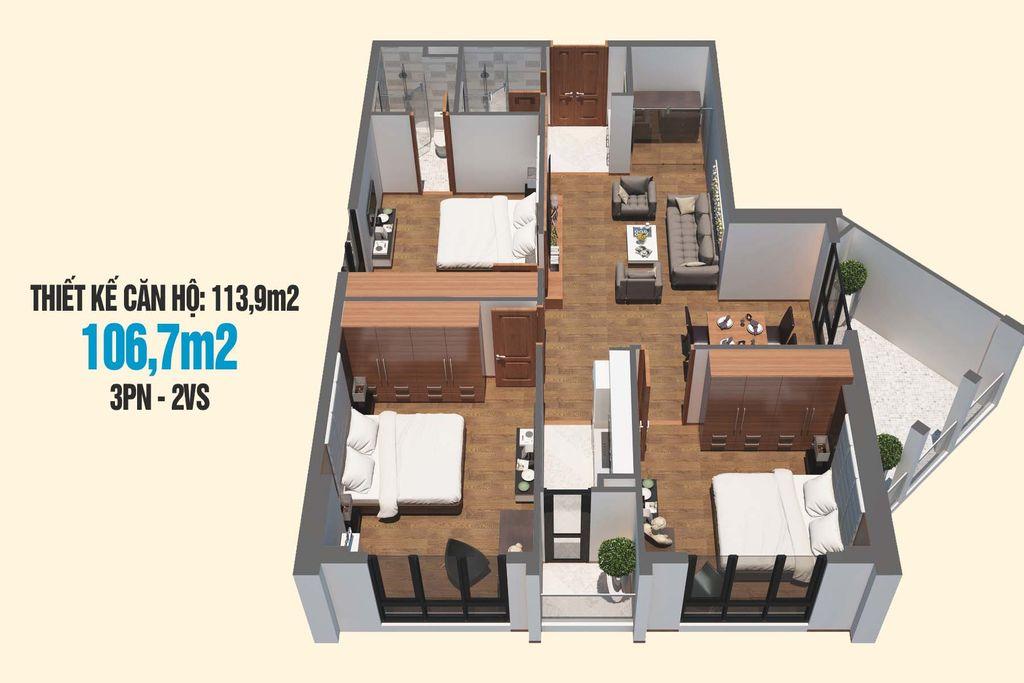 thiết kế căn hộ 106m2 chung cư tecco skyville tower
