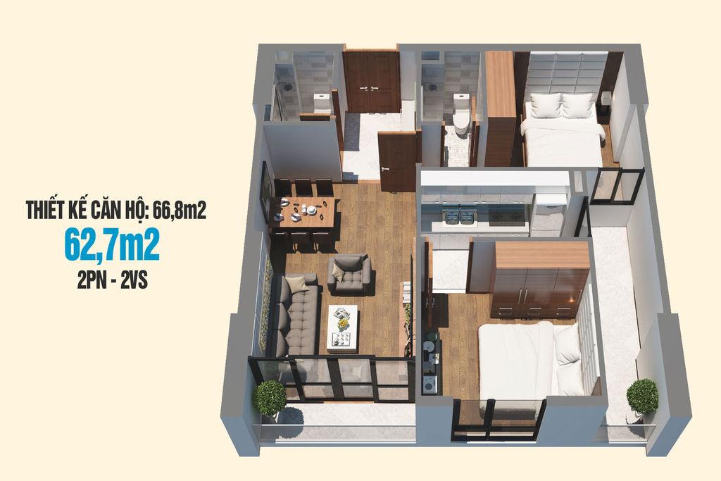 thiết kế căn hộ 62m2 chung cư tecco skyville tower