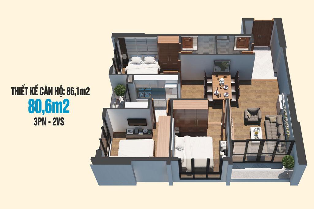 thiết kế căn hộ 80m2 chung cư tecco skyville tower