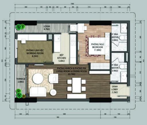thiết kế chung cư aurora garden căn a1.1