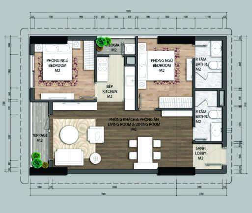 thiết kế chung cư aurora garden căn a1.2