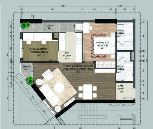 thiết kế chung cư aurora garden căn a4.1