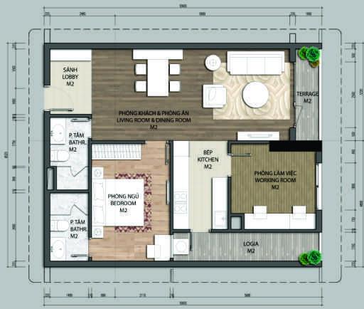 thiết kế chung cư aurora garden căn b1.1