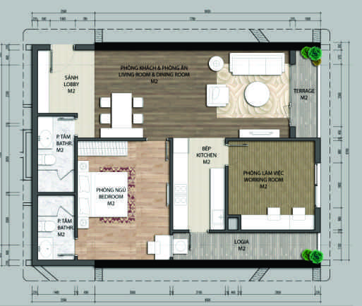 thiết kế chung cư aurora garden căn b2