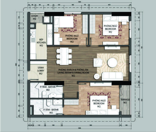 thiết kế chung cư aurora garden căn c1
