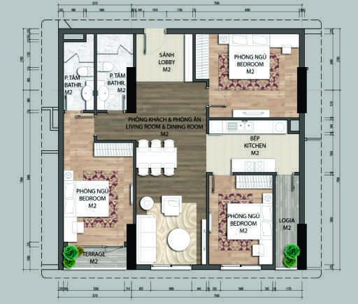 thiết kế chung cư aurora garden căn c2