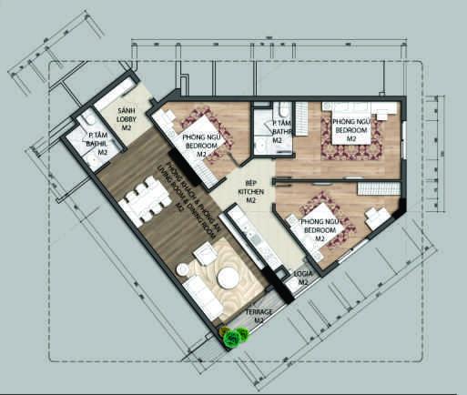 thiết kế chung cư aurora garden căn c3