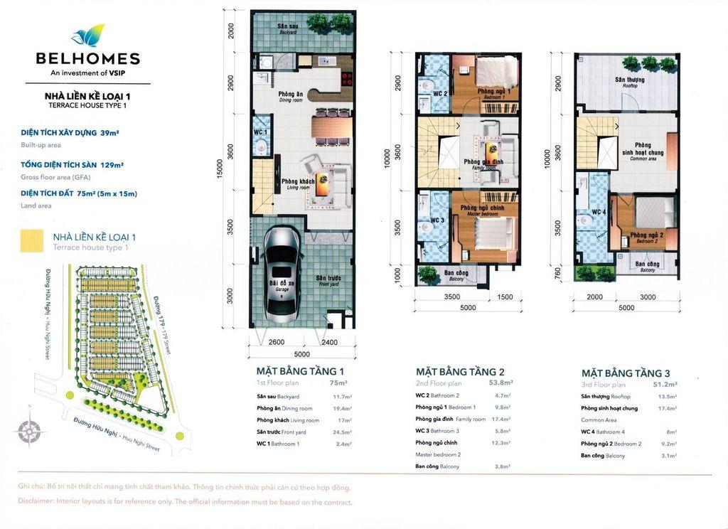 thiết kế liền kề 75 m2 dự án belhomes vsip từ sơn bắc ninh