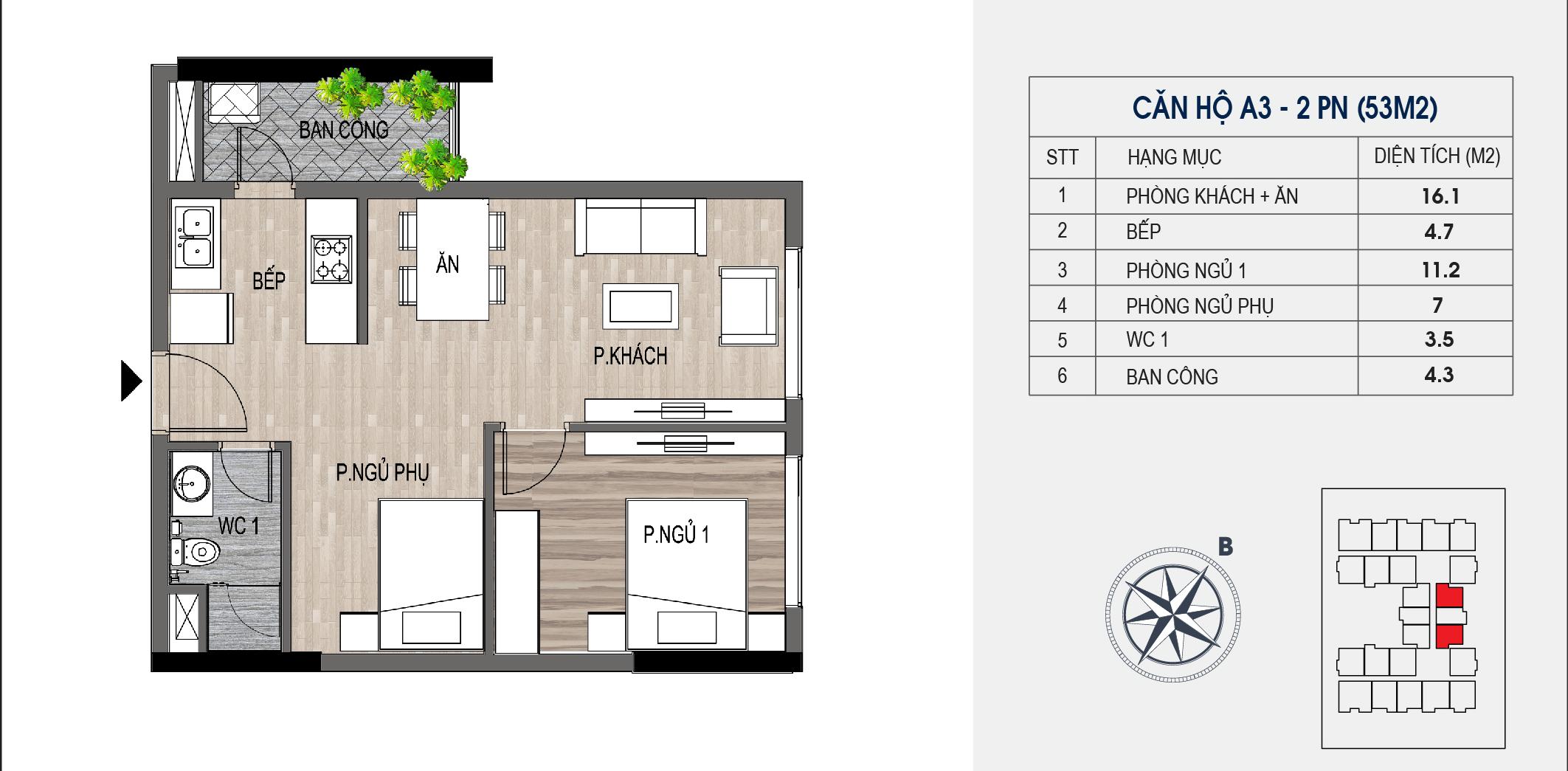 thiết kế chung cư lotus central căn hộ a3