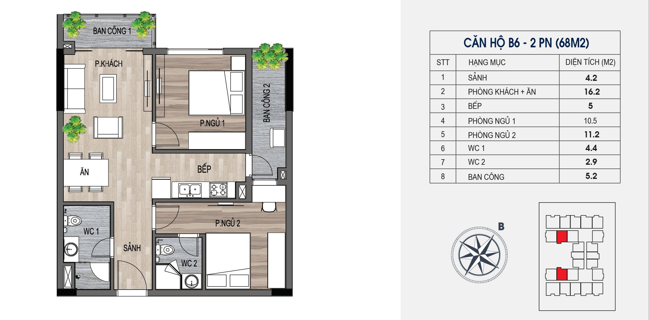 thiết kế chung cư lotus central căn hộ b6