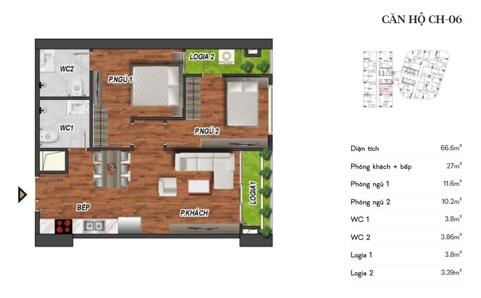 thiết kế manhattan tower căn hộ ch06