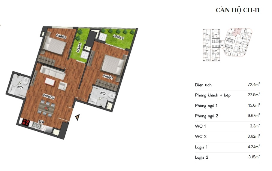 thiết kế manhattan tower căn hộ ch11