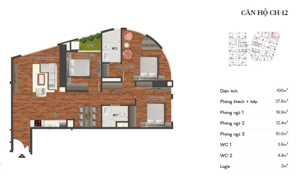 thiết kế manhattan tower căn hộ ch12