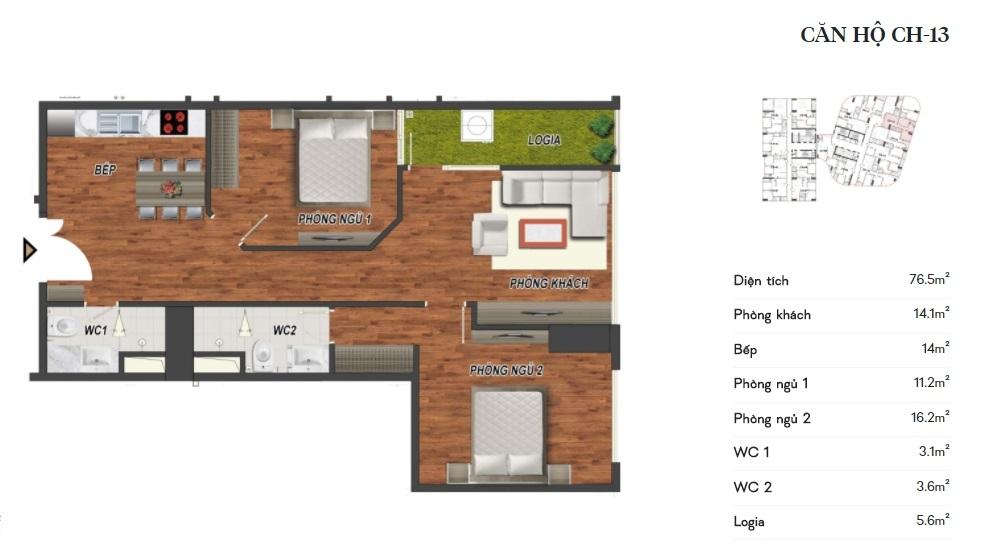 thiết kế manhattan tower căn hộ ch13