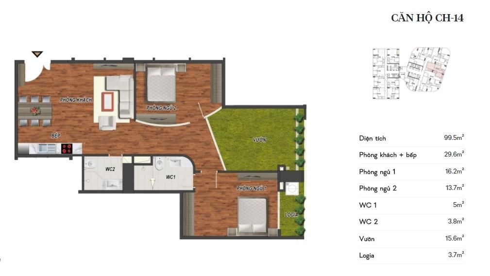 thiết kế manhattan tower căn hộ ch14