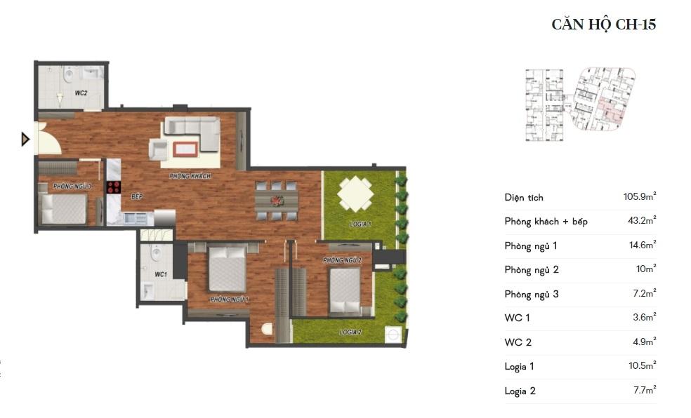 thiết kế manhattan tower căn hộ ch15