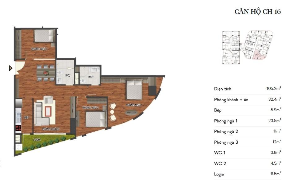 thiết kế manhattan tower căn hộ ch16