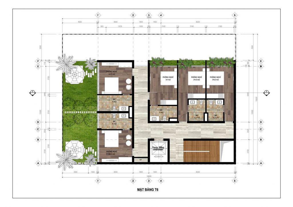 thiết kế minihotel flamingo tầng 6