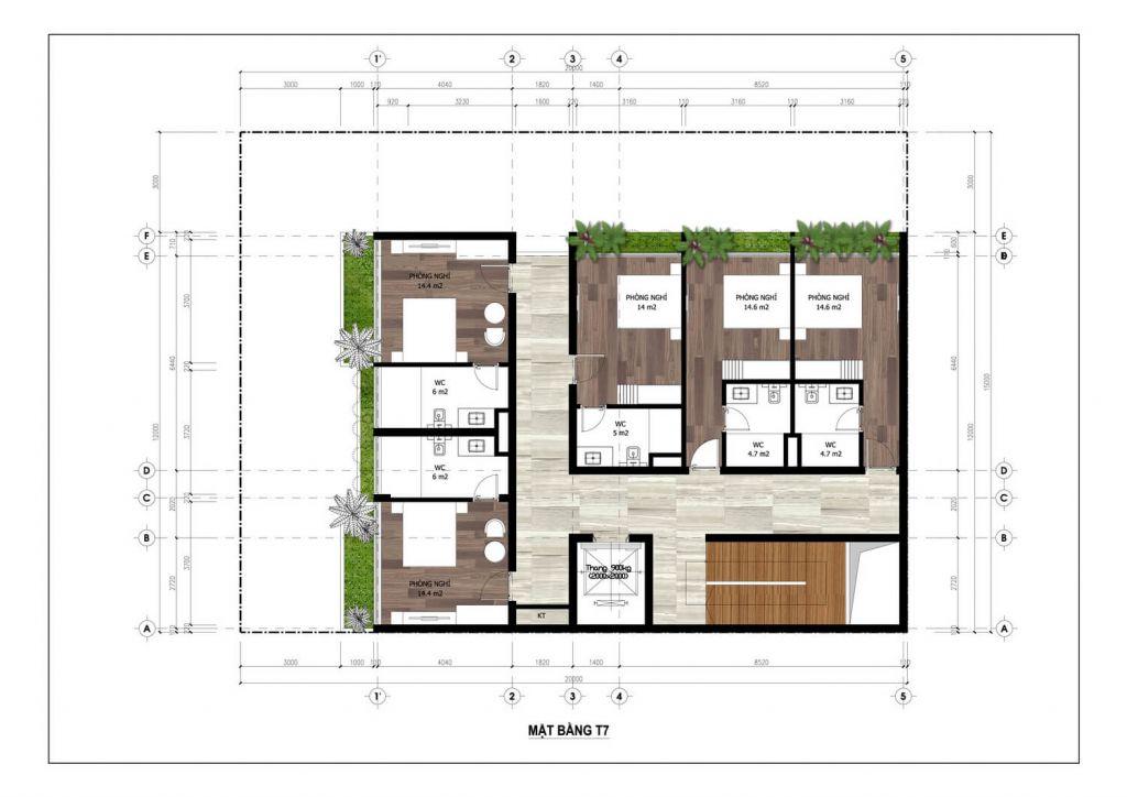 thiết kế minihotel flamingo tầng 7