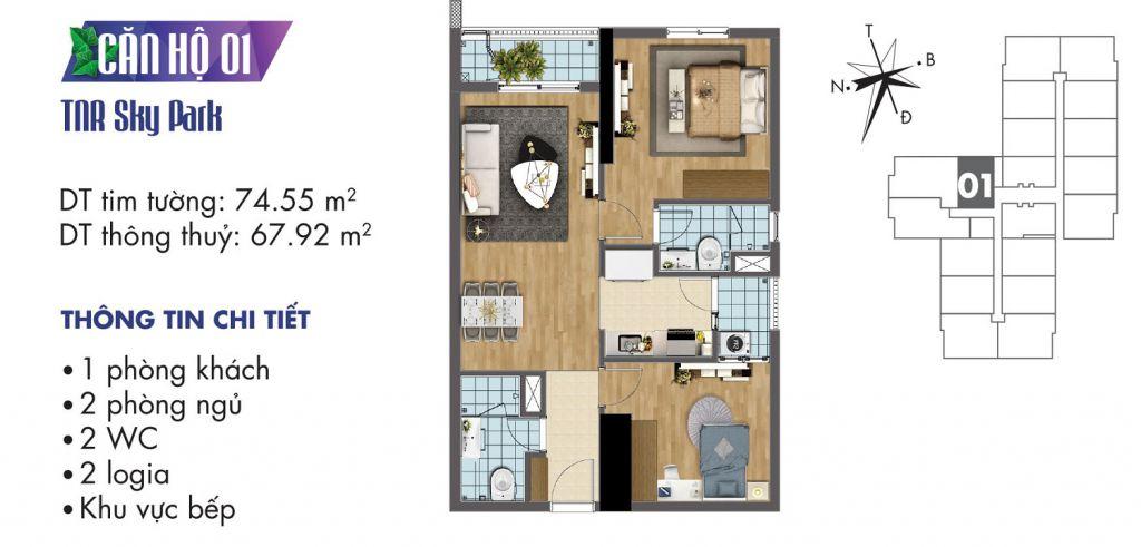 mặt bằng chung cư tnr sky park căn hộ 01