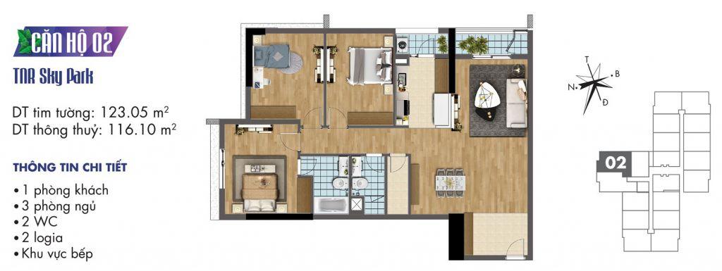 mặt bằng chung cư tnr sky park căn hộ 02