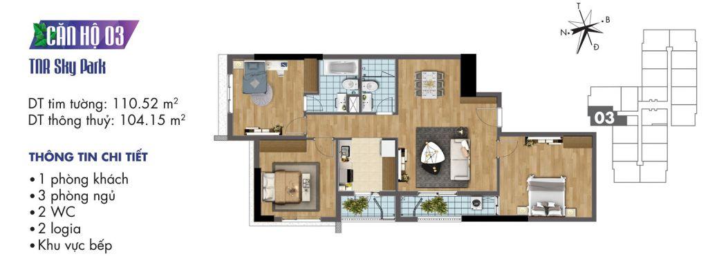 mặt bằng chung cư tnr sky park căn hộ 03