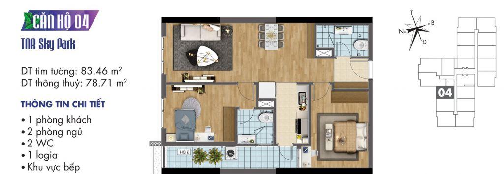 mặt bằng chung cư tnr sky park căn hộ 04