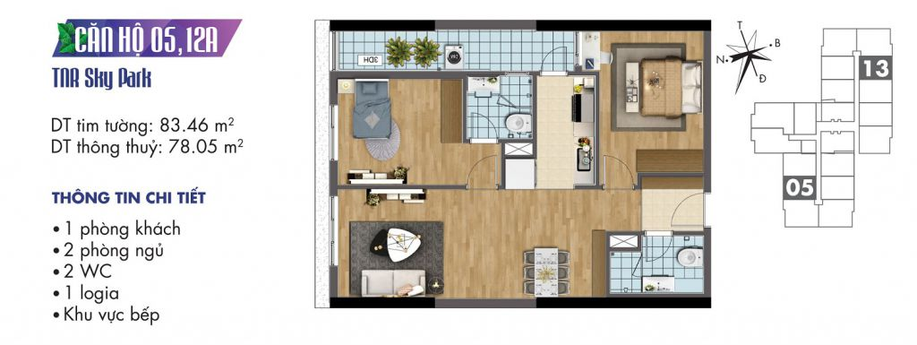 mặt bằng chung cư tnr sky park căn hộ 05, 12a