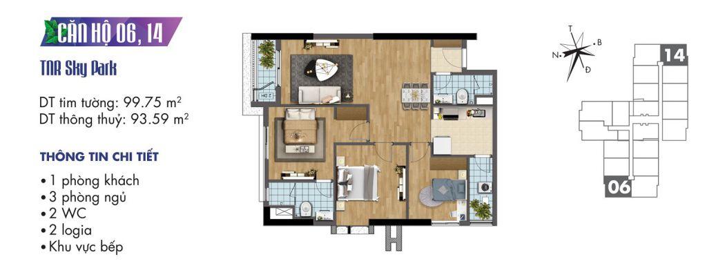 mặt bằng chung cư tnr sky park căn hộ 06, 14
