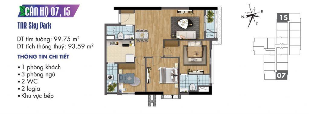 mặt bằng chung cư tnr sky park căn hộ 07, 15