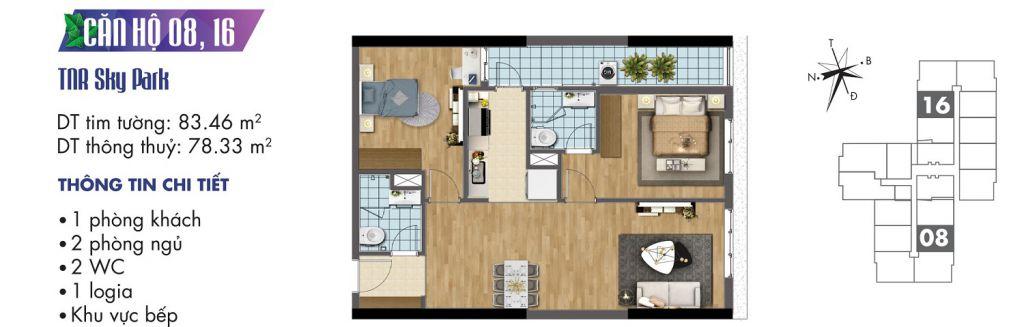 mặt bằng chung cư tnr sky park căn hộ 08, 16