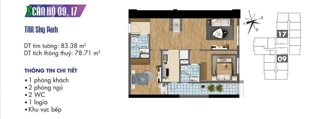 mặt bằng chung cư tnr sky park căn hộ 09, 17