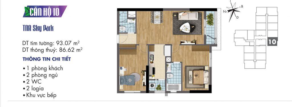 mặt bằng chung cư tnr sky park căn hộ 10