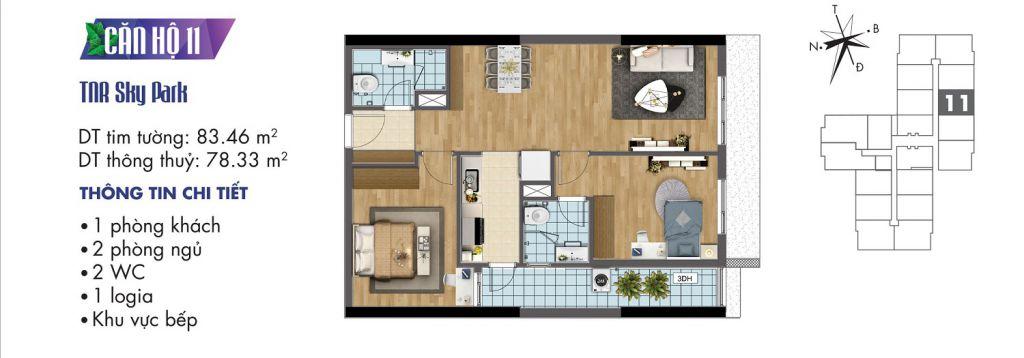 mặt bằng chung cư tnr sky park căn hộ 11