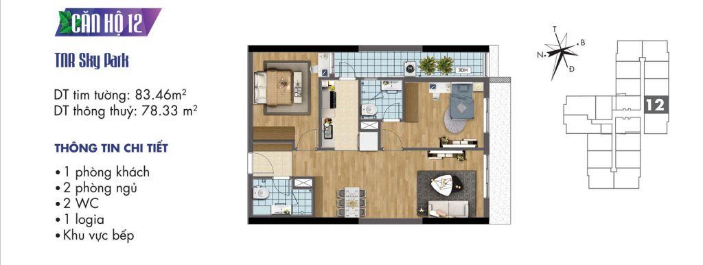 mặt bằng chung cư tnr sky park căn hộ 12