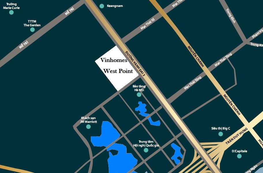 vị trí dự án vinhomes west point