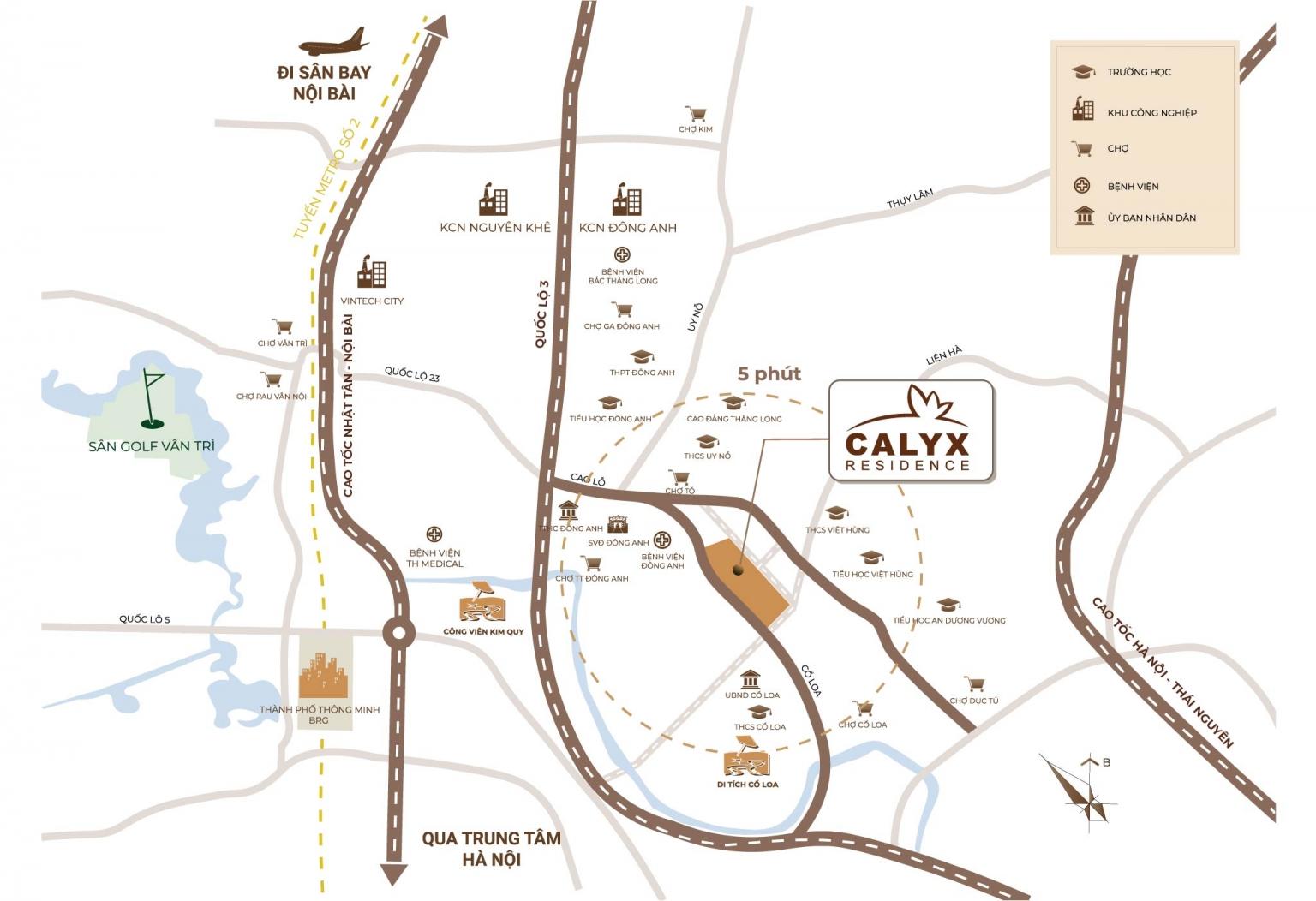 vị trí dự án calyx residence đông anh